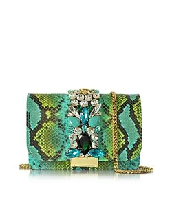 Gedebe | Clicky And Python Leather Clutch