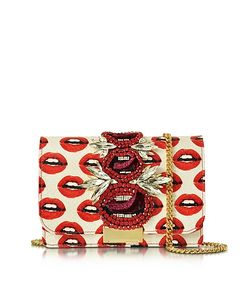 Gedebe | Clicky Snake Leather Lips Clutch