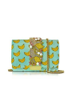 Gedebe | Clicky Azure Snake Leather Banana Clutch