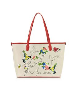 Love Moschino | Natural Canvas And Eco Leather Tote W/Embroidery I Love You