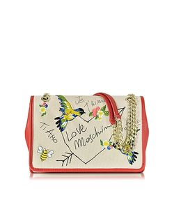 Love Moschino | Natural Canvas And Eco Leather Shoulder Bag W/Embroidery I Love
