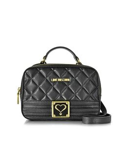 Love Moschino | Quilted Eco Leather Satchel Bag W/Detachable Shoulder Strap