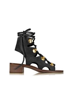 See by Chloé | Suede Lace Up Flat Sandal Shoe