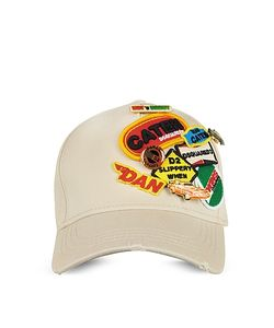 Dsquared2   Gabardine Cotton Embroidered Baseball Cap W/Pins
