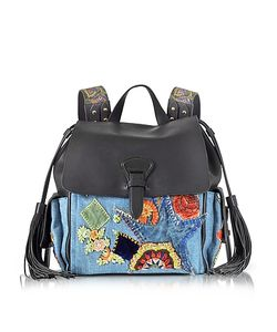 Roberto Cavalli | Soft Nappa Leather And Embroidered Denim Backpack