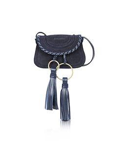 See by Chloé | Polly Ultramarine Suede Leather Mini Crossbody Bag W/Tassels