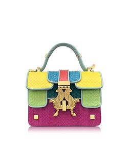 GIANCARLO PETRIGLIA | Pop Color-Block Elaphe Leather Mini P Bag