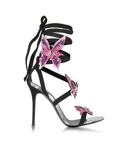 Giuseppe Zanotti Design   Suede Stiletto Sandals W Butterflies