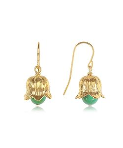 Aurelie Bidermann | 18k Plated Lily Of The Valley Earrings W/Turquoise