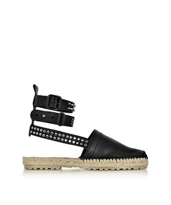 Dsquared2 | Rock Cross Leather Ankle Wrap Flat Espadrilles W/Studs