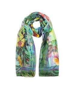 Laura Biagiotti | Emerald Tropical Printed Chiffon Silk Stole