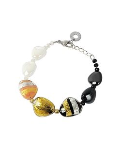 Antica Murrina | Moretta Pastel Glass Beads W/24kt And Leaf Bracelet