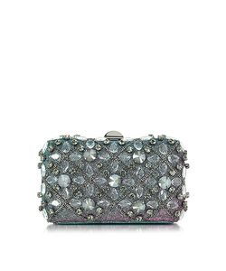 Rodo | Iridescent Lurex Tresor Clutch W/Crystals And Chains