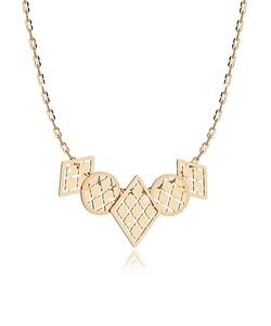 Rebecca | Melrose Over Bronze Necklace W/Five Geometric Charms