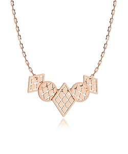 Rebecca | Melrose Rose Over Bronze Necklace W/Five Geometric Charms