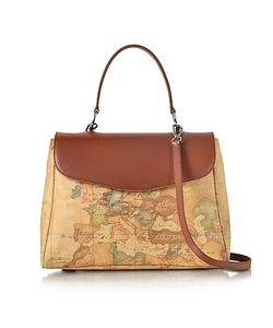 Alviero Martini 1A Classe | Geo Print Coated Canvas And Satchel Bag W/Shoulder Strap