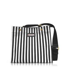 Marni | Stripe Canvas And Leather Voile Bag
