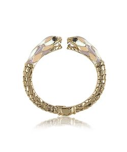 Roberto Cavalli | Tone Metal And Enamel Double Snake Bangle Bracelet