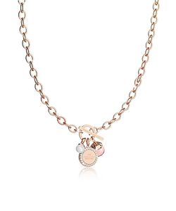 Rebecca | Hollywood Stone Rose Over Bronze Chain Necklace W/Hydrothermal Stone