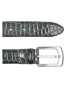 Manieri | Mens Gray Croco Stamped Patent Leather Belt