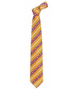 Ken Scott   Blue Flower Striped Woven Silk Tie
