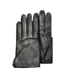 Pineider   Женские Короткие Черные Перчатки Из Кожи Наппа С Шелковой Подкладкой