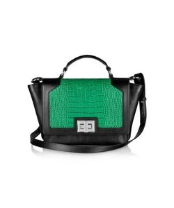 Leonardo Delfuoco | Black And Croco-Embossed Ipad Bag