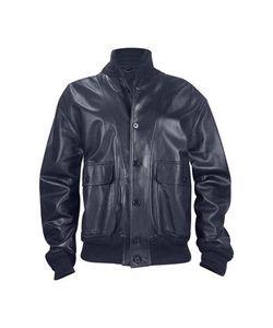 SCHIATTI & C | Темно-Синяя Итальянская Мужская Куртка Из Кожи Наппа С Двумя Карманами
