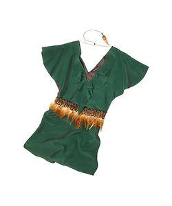Hafize Ozbudak | Jade Silk Tunic With Feather Belt
