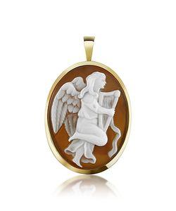 Del Gatto   Подвеска /Брошькамея Из Сердоликовой Раковины С Изображением Ангела