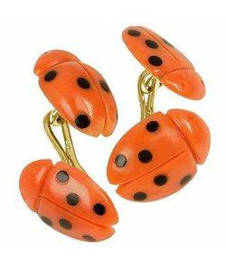 Forzieri Exclusives | Vintage Ladybug And Onyx 18k Gold Cufflinks