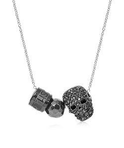 Northskull | Хромовое Мужское Ожерелье С Гематитовой Сферой Черным Черепом И Кольцом С Логотипом