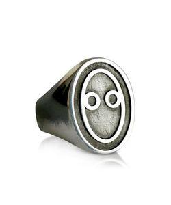Saturnino 69 | Мужское Кольцо Из Серебра 925 Пробы И Черной Эмали С Винтажным Эффектом