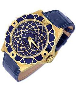 Julius Legend | Capitol Часы Из Золота 18 Карат С Синим Ремешком Из Крокодиловой Кожи