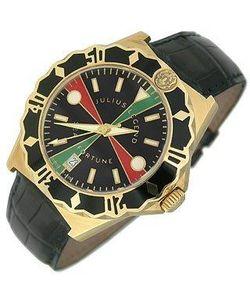 Julius Legend | Sea Fortune Diver Часы Из Золота 18 Карат С Кожаным Ремешком