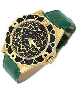 Julius Legend | Capitol Часы Из Золота 18 Карат С Зеленым Ремешком Из Крокодиловой Кожи