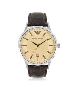 Emporio Armani | Классические Мужские Часы Из Нержавеющей Стали На Ремешке Из Тисненой Кожи