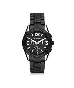 Karl Lagerfeld | Kurator 41.5 Мм Черные Мужские Часы Хронограф Из Нержавеющей Стали