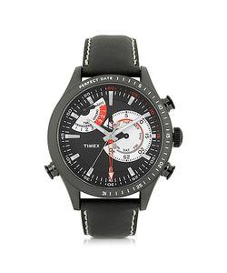 Timex | Chrono Timer Черные Мужские Часы С Корпусом Из Нержавеющей Стали И Кожаным Ремешком