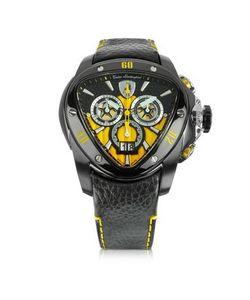 Tonino Lamborghini | Spyder Черные Часы Хронограф Из Нержавеющей Стали С Желтым Циферблатом