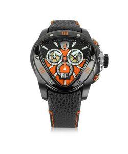 Tonino Lamborghini | Spyder Черные Часы Хронограф Из Нержавеющей Стали С Оранжевым Циферблатом