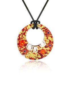 Akuamarina | Lily Gold Murano Glass Pendant W/Rubber Lace