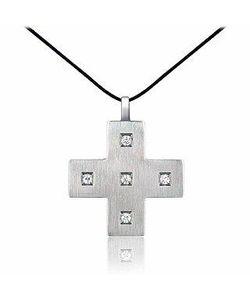 Zable | Подвеска-Крест Из Нержавеющей Стали С Цирконами На Шнурке