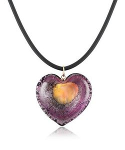 Akuamarina | Silver Leaf And Murano Glass Heart Pendant Necklace