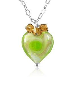 House of Murano | Vortice Колье Из Серебра 925 Пробы С Подвеской-Сердцем Из Стекла Мурано Лимонно-Зеленого Оттенка