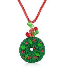 Dolci Gioie   Ожерелье С Рождественским Венком Из Японской Глины