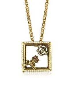 Alcozer & J | Ожерелье С Маленькой Лягушкой И Короной Из Позолоченной Меди С Полудрагоценными Камнями