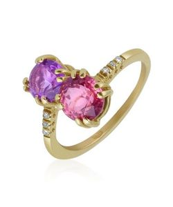 Forzieri | Кольцо Из Желтого Золота С Двумя Камнями И Бриллиантами