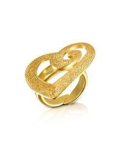 Stefano Patriarchi | Золотистое Точеное Кольцо Из Серебра С Аппликацией-Сердцем