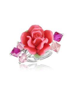 Dolci Gioie   Кольцо Из Серебра 925 Пробы С Красной Розой